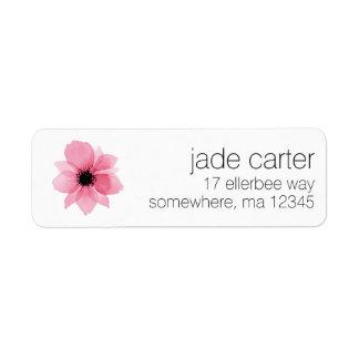 Rücksendeadressen-Aufkleber - rosa Blume