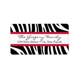 Rücksendeadressen-Aufkleber │ Zebra-Druck-Rot Adressaufkleber