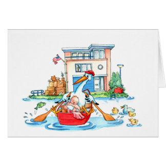 Ruderboot-Storch-Baby - Geburtsmitteilung Grußkarte