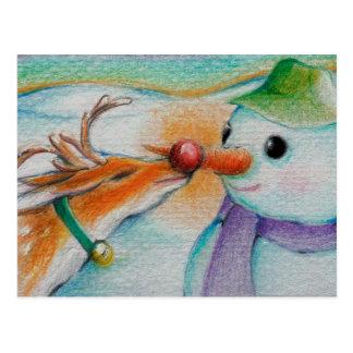 Rudolf trifft den Schneemann Postkarte