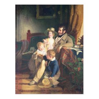 Rudolf von Arthaber mit seinen Kindern Rudolf Postkarte