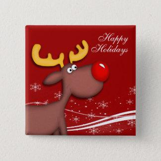 Rudolf-Weihnachten Quadratischer Button 5,1 Cm