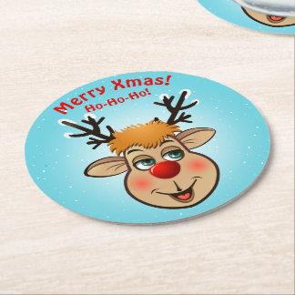 Rudolph - das berühmteste Ren von allen Runder Pappuntersetzer