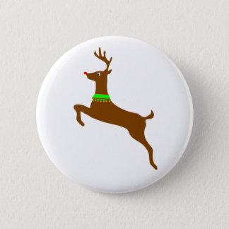 Rudolph springen das rote Nasen-Ren Runder Button 5,1 Cm