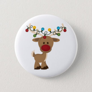 Rudolph_with_Christmas_Lights Runder Button 5,7 Cm