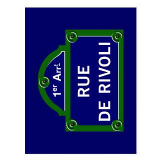 Rue de Rivoli, Paris-Straßenschild Postkarte