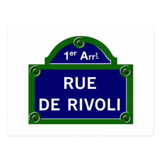 Rue de Rivoli, Paris-Straßenschild Postkarten