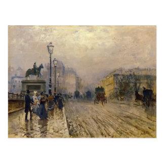 Ruede Paris mit Wagen durch Giuseppe de Nittis Postkarte