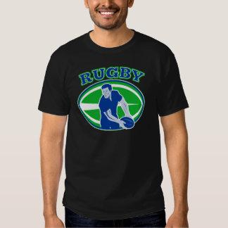 Rugby, das Vorderansichtball führt T-Shirts