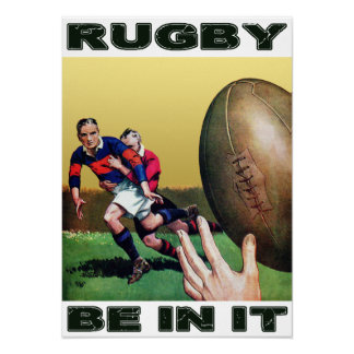 Rugby ist in ihm - Vintages Plakat
