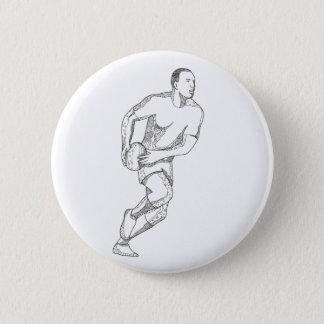 Rugby-Spieler, der Ball-Gekritzel-Kunst führt Runder Button 5,1 Cm