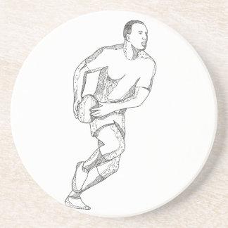 Rugby-Spieler, der Ball-Gekritzel-Kunst führt Sandstein Untersetzer