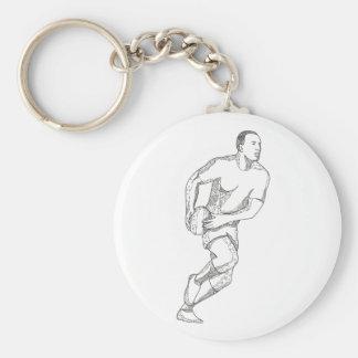Rugby-Spieler, der Ball-Gekritzel-Kunst führt Schlüsselanhänger