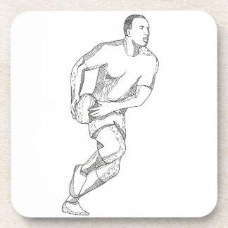 Rugby-Spieler, der Ball-Gekritzel-Kunst führt Untersetzer