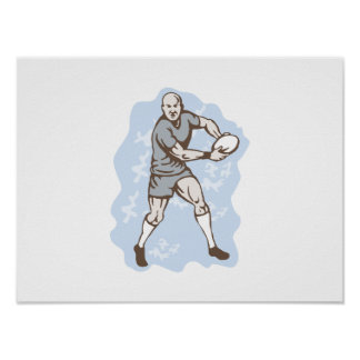 Rugby-Spieler, der mit Ball läuft Poster
