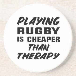 Rugby zu spielen ist billiger als Therapie Sandstein Untersetzer