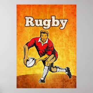Rugbyspieler, der bal führt poster