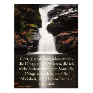 Ruhe-Gebet auf Deutsch Wasserfall-Postkarte