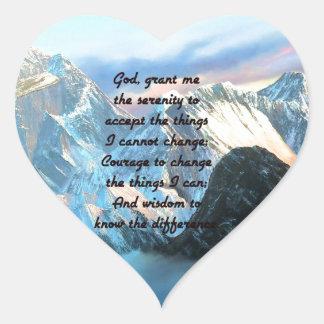 Ruhe-Gebet mit Panoramablick-Mount Everest Herz-Aufkleber