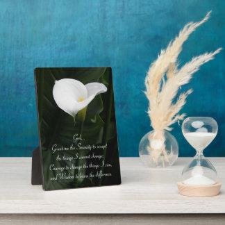 Ruhe-Gebetcalla-Lilie mit Blumen Fotoplatte