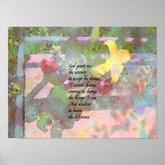 Ruhe-Gebets-Aquarell-Blumenplakat Poster