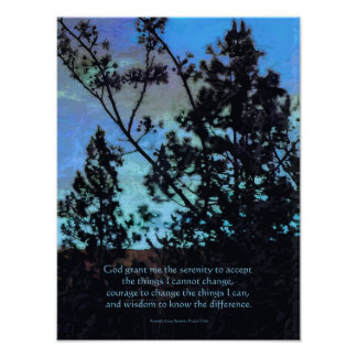 Ruhe-Gebets-Bäume und Himmel-Blau Poster