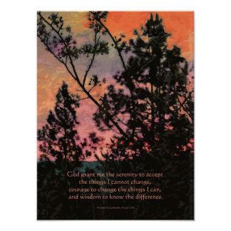 Ruhe-Gebets-Bäume und Himmel Poster