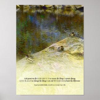 Ruhe-Gebets-Enten und Teich-Plakat Poster