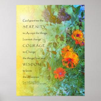 Ruhe-Gebets-Fliedern und Mohnblumen Poster