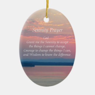 Ruhe-Gebets-Rosa-Meerblick-Oval Keramik Ornament