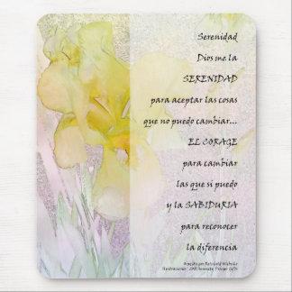 Ruhe PrayerYellow Iris auf spanisch Mousepad