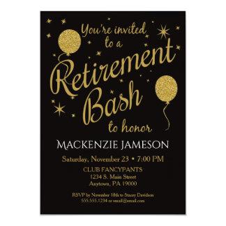 Ruhestands-Einladungs-festliche Party-Goldballone 12,7 X 17,8 Cm Einladungskarte