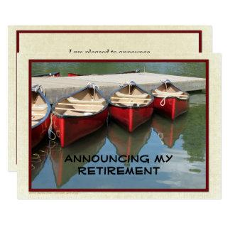 Ruhestands-Mitteilung, drei rote Kanus Karte
