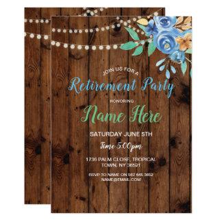 Ruhestands-Party-Blumen-Blau lädt Aqua-Holz ein Karte