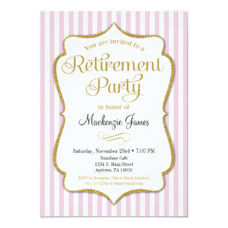 Ruhestands-Party Einladungs-Rosa-Goldelegante Dame Karte
