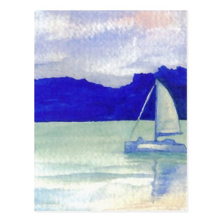 Ruhige einfache segelnde CricketDiane Ozean-Kunst Postkarte