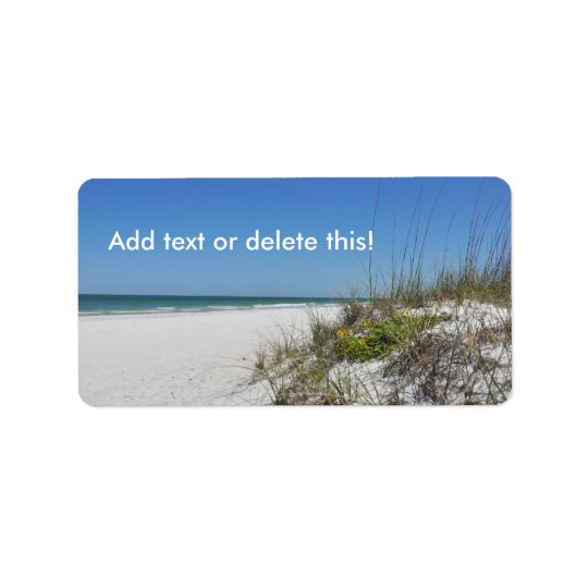 Ruhige Florida-Strand-Szene der Strand-Seehafer-2 Adressaufkleber