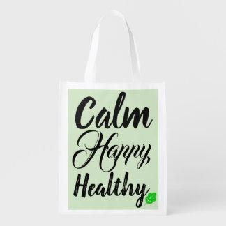Ruhige glückliche gesunde wiederverwendbare Tasche Wiederverwendbare Einkaufstasche