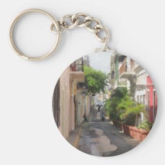 Ruhige kleine Straße von Puerto Rico Schlüsselanhänger