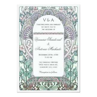 Ruhige Kunst Nouveau Hochzeits-Einladungen 12,7 X 17,8 Cm Einladungskarte