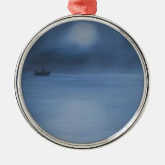 ruhige Ozeannacht allein Silbernes Ornament