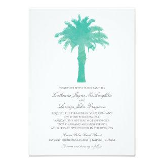 Ruhiges Palme-Minzen-Aquarell Wedding | 12,7 X 17,8 Cm Einladungskarte