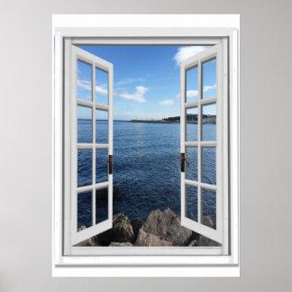 Ruhiges Seeansicht Trompe - L ' oeil Fake-Fenster Poster
