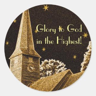 Ruhm zum Gott im höchsten! Runder Aufkleber