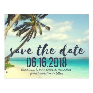 Ruinierte Strand-Hochzeits-Save the Date Postkarte