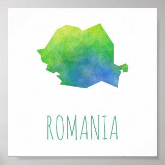 Rumänien-Karte Poster