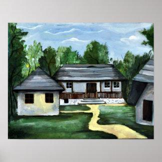 Rumänien - Transylvanian rustikales Haus Poster