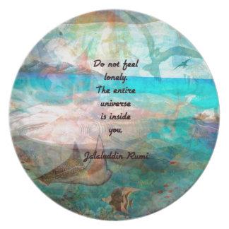 Rumi Inspirations-Zitat über das Universum Teller