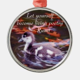 Rumi werden lebenpoesie silbernes ornament