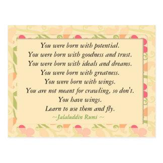 Rumi Zitat-Inspirational motivierend Postkarte